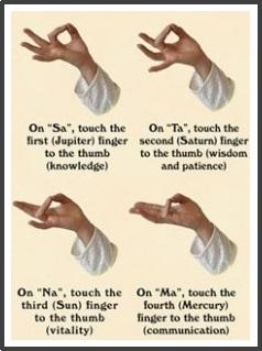 Sa Ta Na Ma - Kirtan Kriya - mudra showing the 4 finger positions