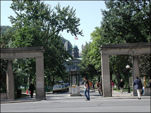 McGill University, Montreal, Quebec, Canada main front gate on Sherbrooke Street West