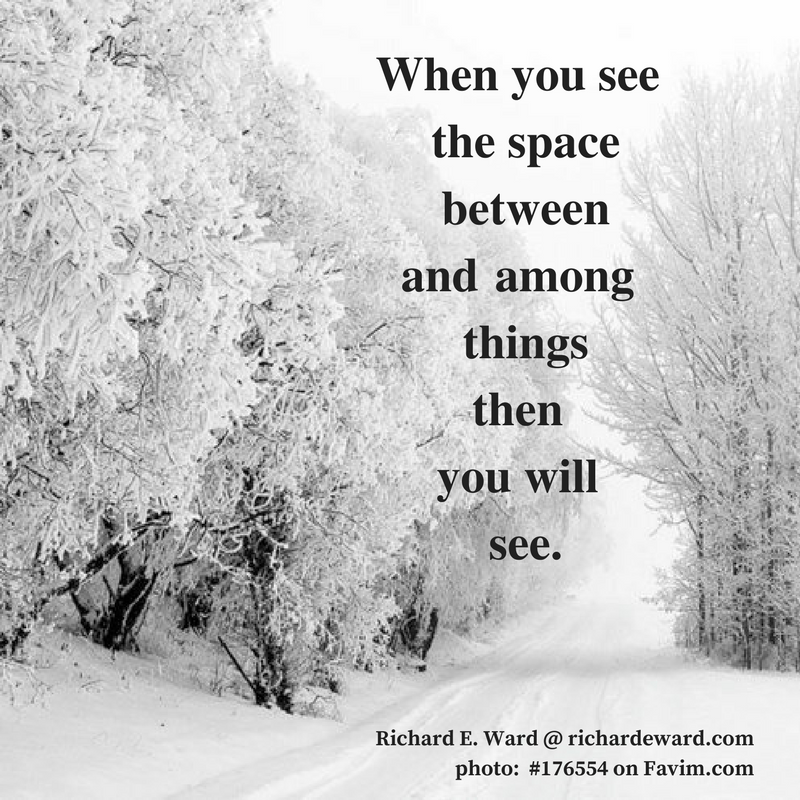 When you see the space between and among things then you will see. Richard E. Ward