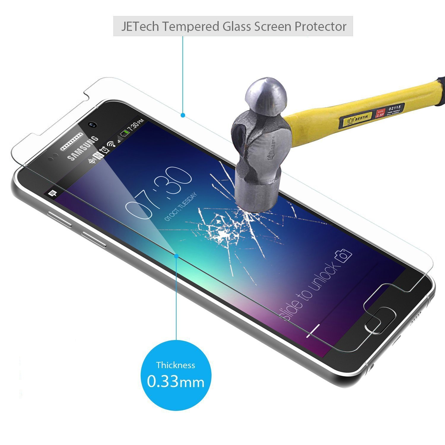JETech Premium Tempered Glass Screen Protector Film for Samsung Galaxy Note 5